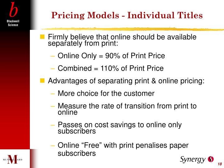 Pricing Models - Individual Titles