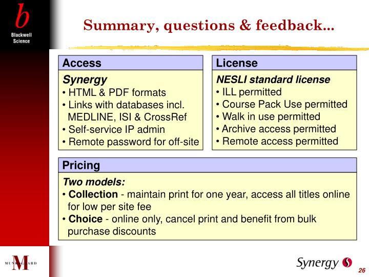 Summary, questions & feedback...
