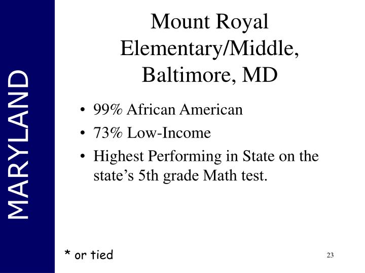 Mount Royal Elementary/Middle, Baltimore, MD