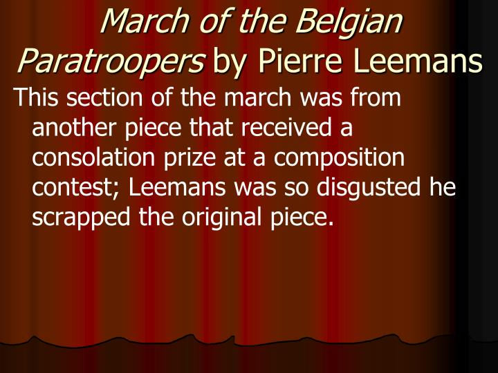 March of the Belgian Paratroopers