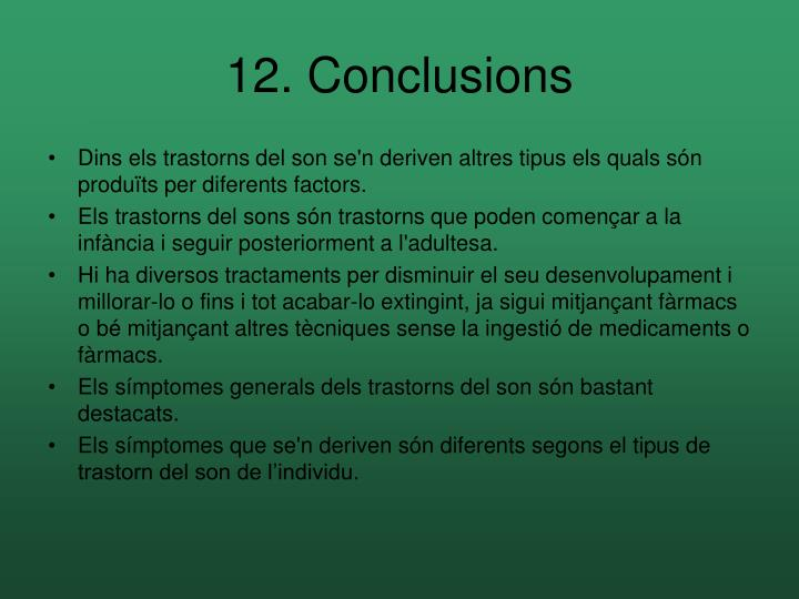 12. Conclusions