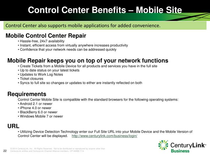 Control Center Benefits – Mobile Site