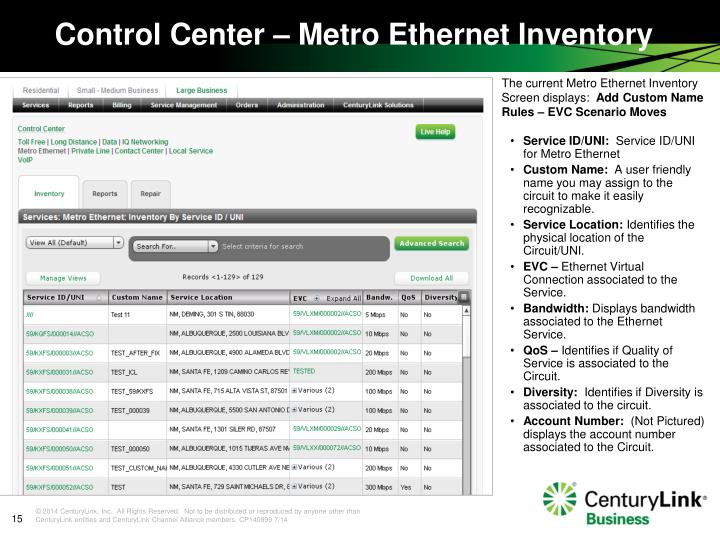 The current Metro Ethernet Inventory Screen displays: