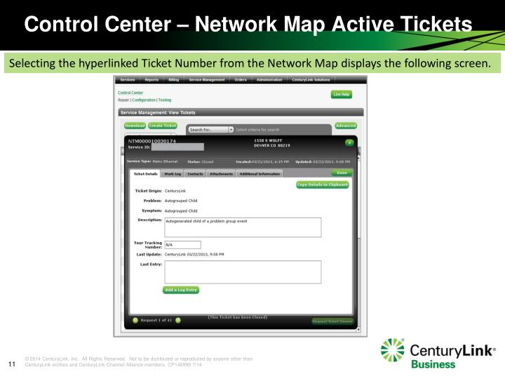 Control Center – Network Map Active Tickets