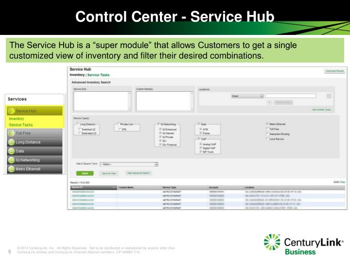 Control Center - Service Hub