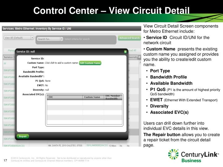 View Circuit Detail Screen components for Metro Ethernet include: