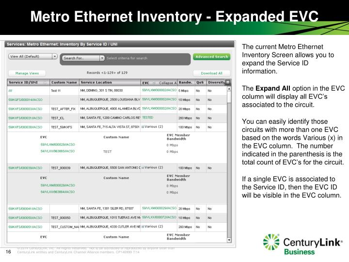 The current Metro Ethernet Inventory Screen allows you to expand the Service ID information.