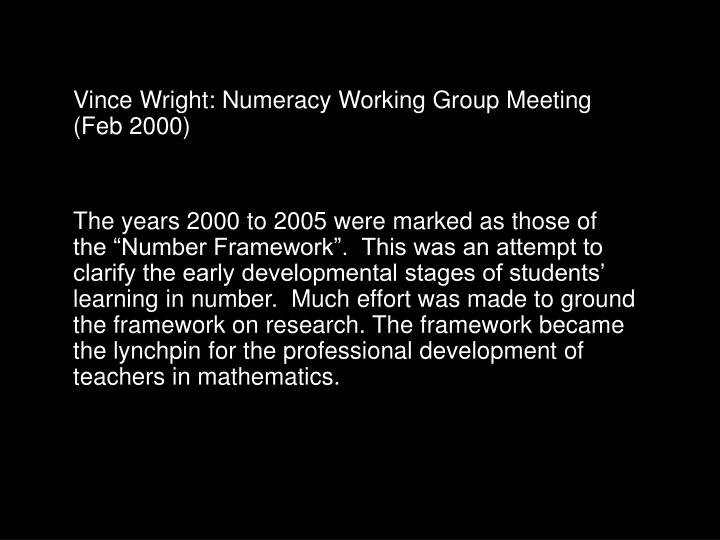 Vince Wright: Numeracy Working Group Meeting (Feb 2000)