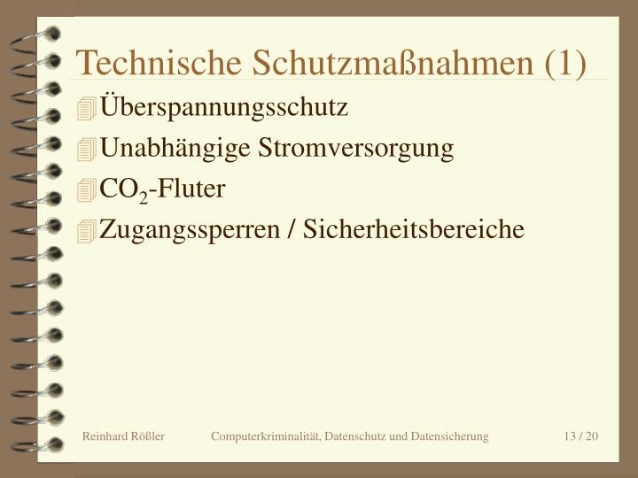Technische Schutzmaßnahmen (1)