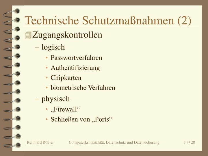 Technische Schutzmaßnahmen (2)