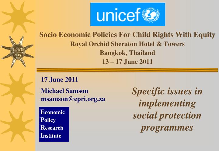 Socio Economic Policies For Child Rights With Equity