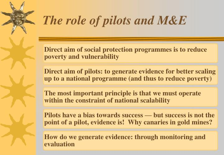 The role of pilots and M&E