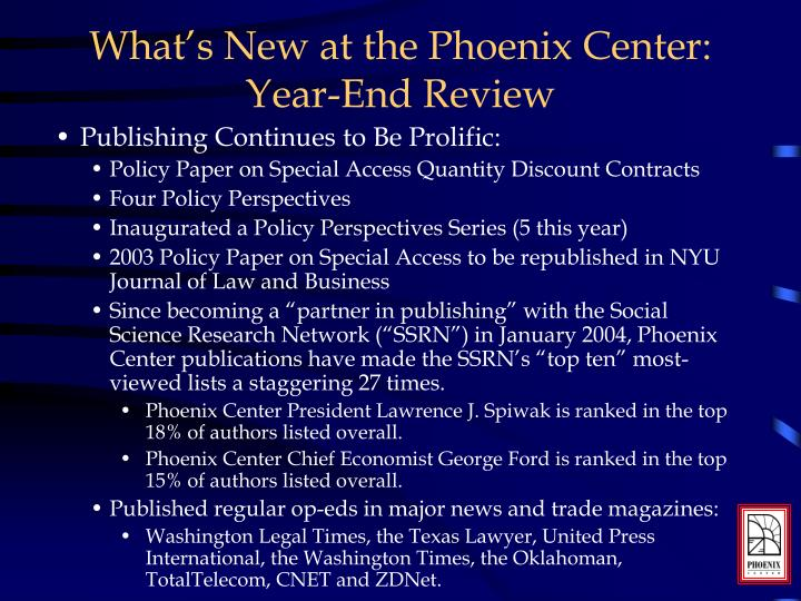 What's New at the Phoenix Center: Year-End Review