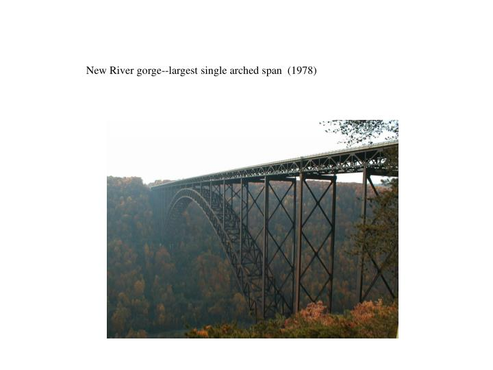 New River gorge--largest single arched span  (1978)