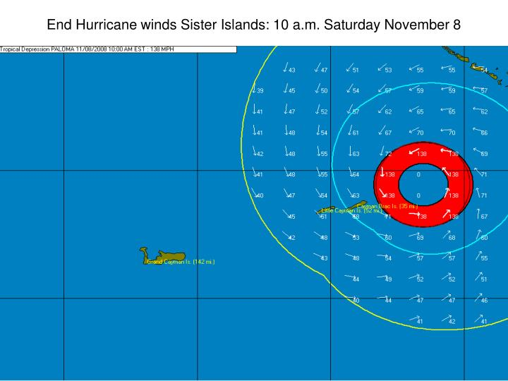 End Hurricane winds Sister Islands: 10 a.m. Saturday November 8