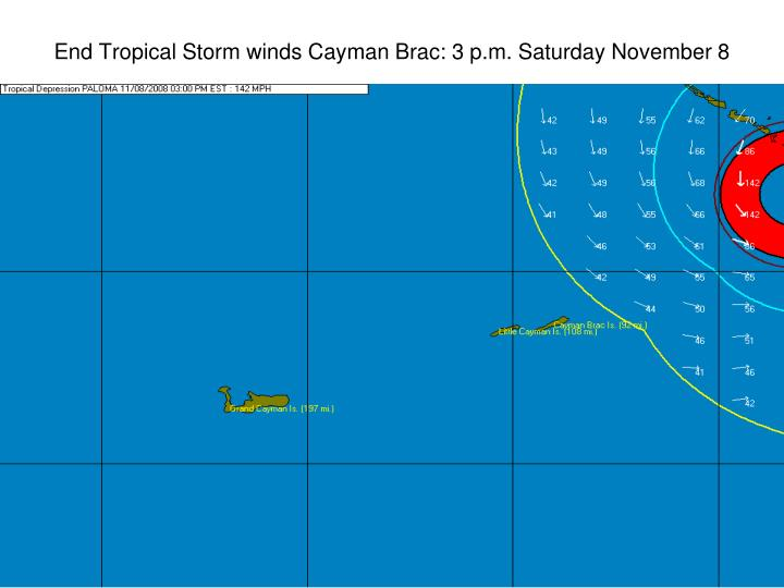 End Tropical Storm winds Cayman Brac: 3 p.m. Saturday November 8