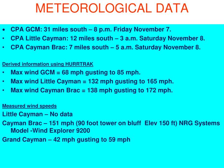 METEOROLOGICAL DATA