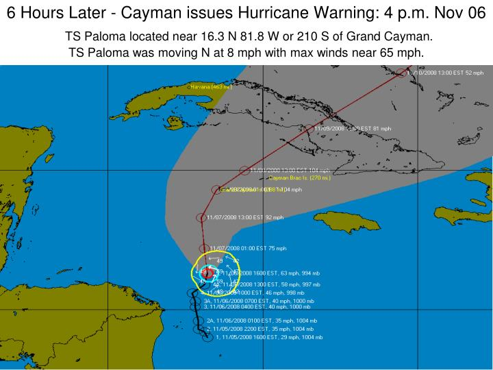 6 Hours Later - Cayman issues Hurricane Warning: 4 p.m. Nov 06