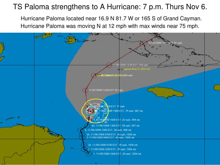 TS Paloma strengthens to A Hurricane: 7 p.m. Thurs Nov 6.