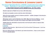 some conclusions lessons learnt