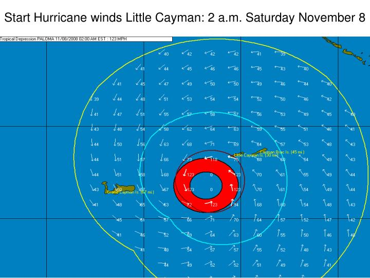 Start Hurricane winds Little Cayman: 2 a.m. Saturday November 8