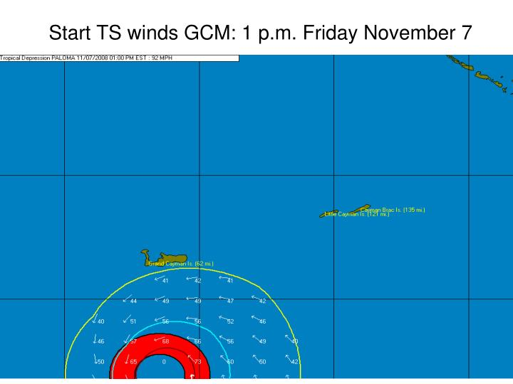 Start TS winds GCM: 1 p.m. Friday November 7