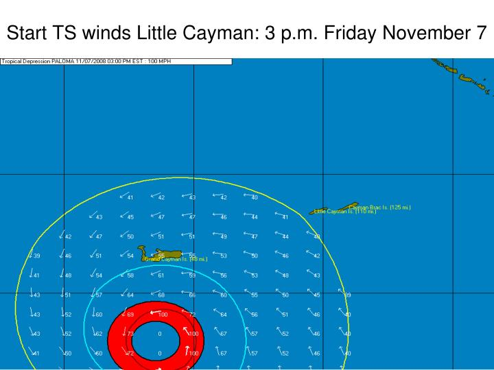 Start TS winds Little Cayman: 3 p.m. Friday November 7