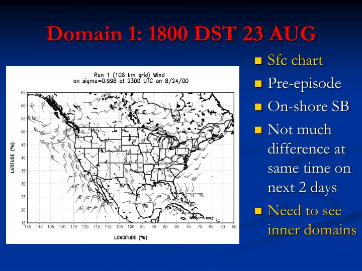 Domain 1: 1800 DST 23 AUG