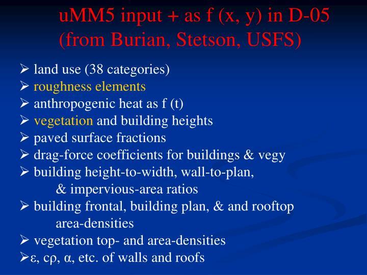 uMM5 input + as f (x, y) in D-05