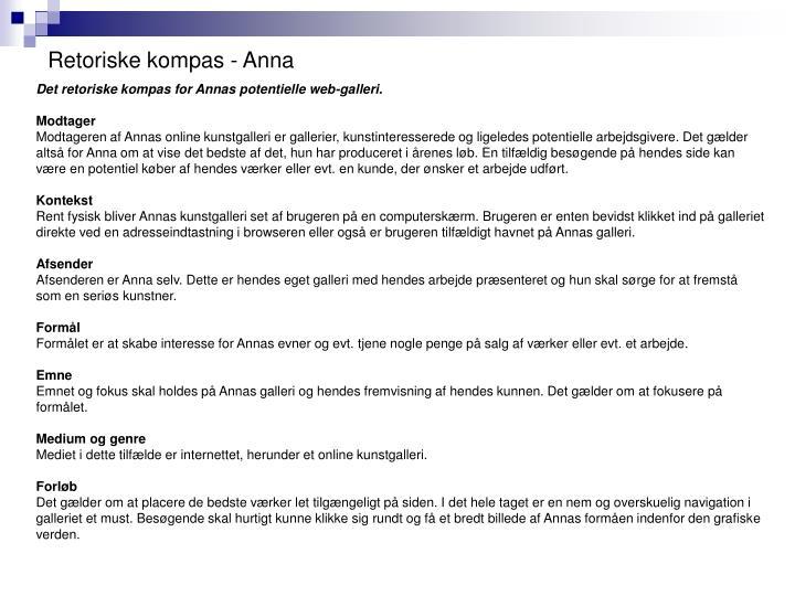 Retoriske kompas - Anna