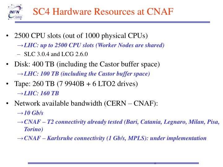 SC4 Hardware Resources at CNAF