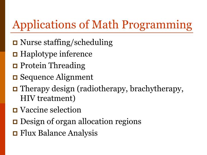 Applications of Math Programming