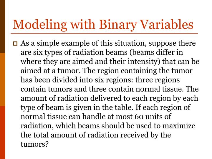 Modeling with Binary Variables