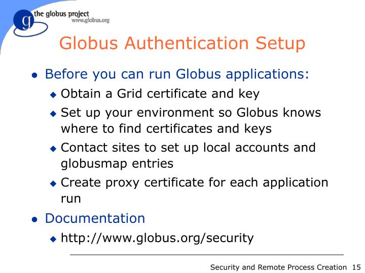 Globus Authentication Setup