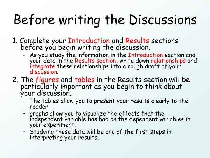 Before writing the Discussions