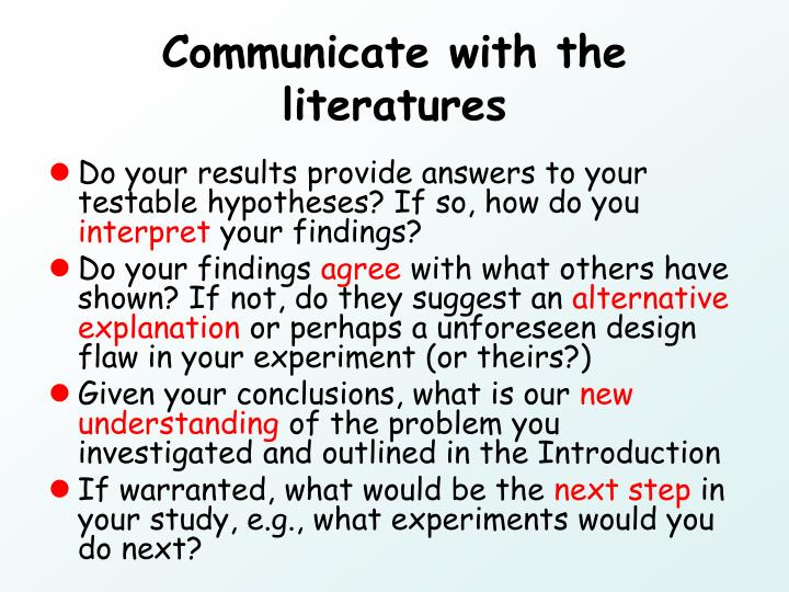 Communicate with the literatures