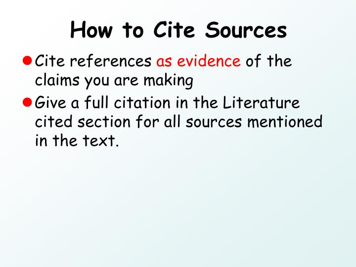 How to Cite Sources