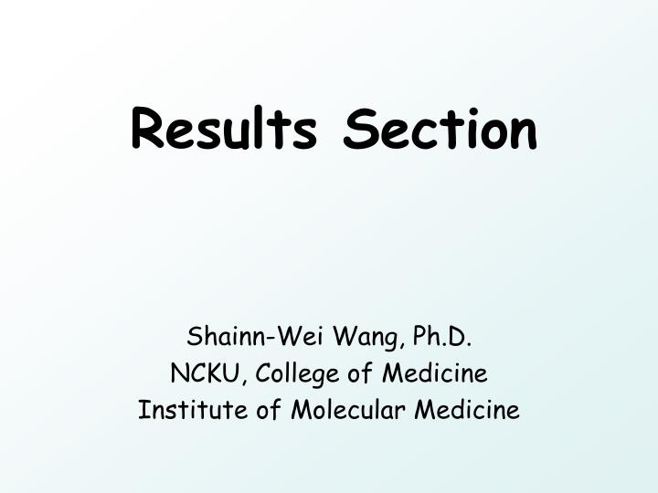 Results section