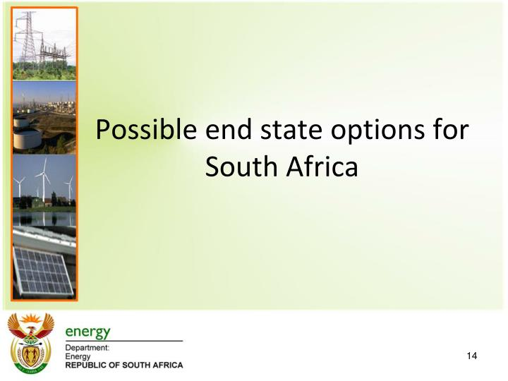 Possible end state options for South Africa