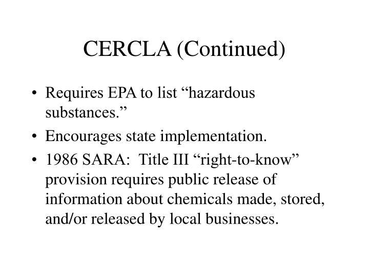 CERCLA (Continued)