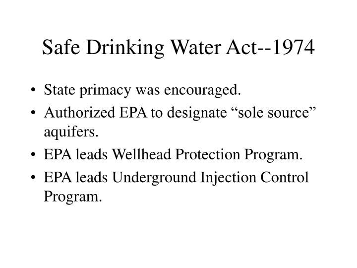 Safe Drinking Water Act--1974