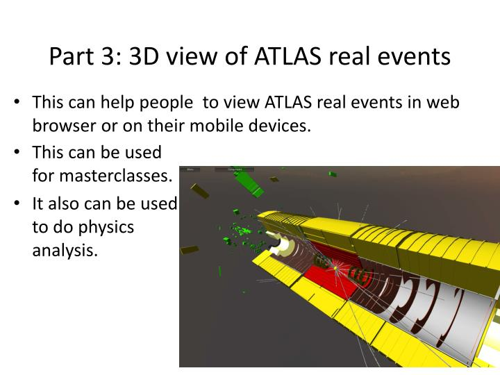 Part 3: 3D view of ATLAS real events