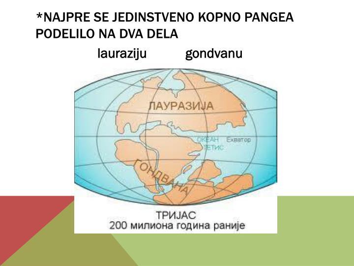 *najpre se jedinstveno kopno pangea podelilo na dva dela