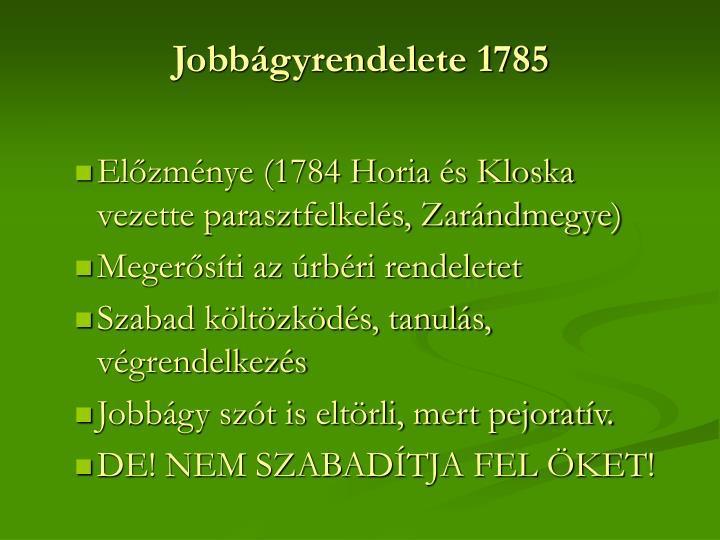 Jobbágyrendelete 1785