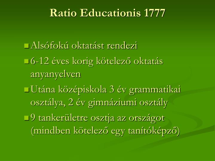 Ratio Educationis 1777