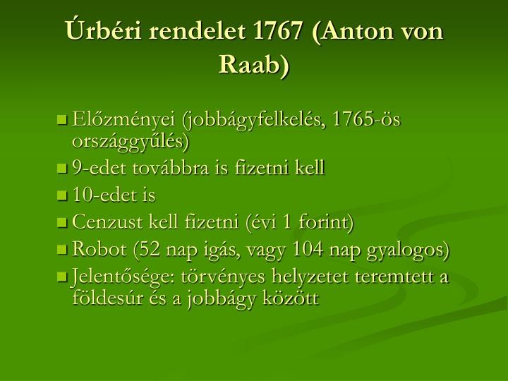 Úrbéri rendelet 1767 (Anton von Raab)