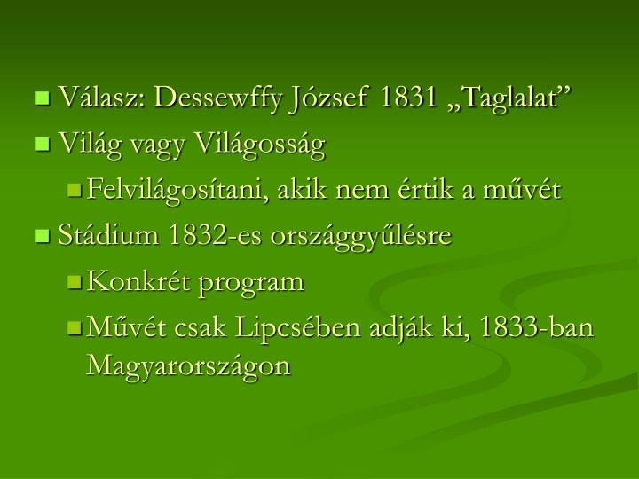 """Válasz: Dessewffy József 1831 """"Taglalat"""""""