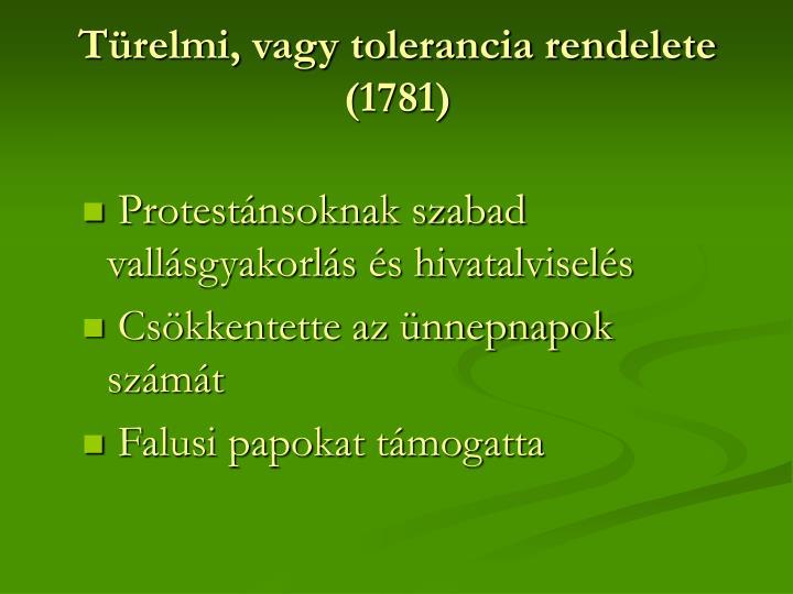 Türelmi, vagy tolerancia rendelete (1781)