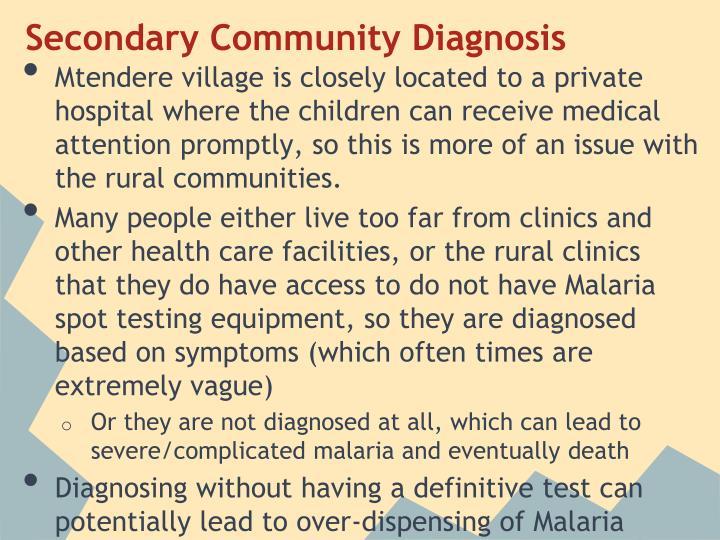 Secondary Community Diagnosis