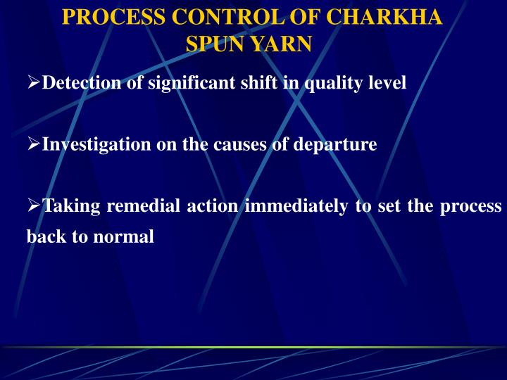 PROCESS CONTROL OF CHARKHA SPUN YARN